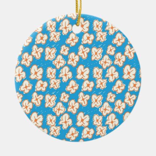 Margaritas ingenuas en azul ornamento de navidad