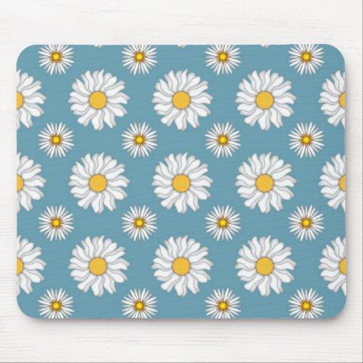 Margaritas lindas y flores blancas y azules alfombrillas de raton