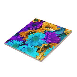 Margaritas púrpuras de la turquesa del oro N Azulejo Cuadrado Pequeño
