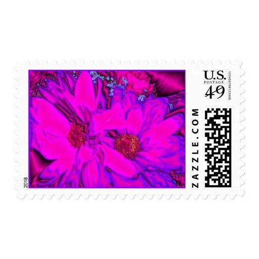 Margaritas púrpuras rosadas metálicas franqueo