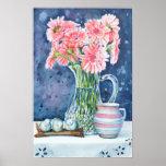 Margaritas rosadas en la impresión cristalina del  poster