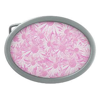 Margaritas rosadas hebillas de cinturon ovales
