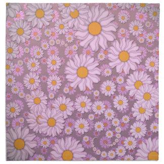 Margaritas rosadas lindas sobre fondo de la lavand servilletas