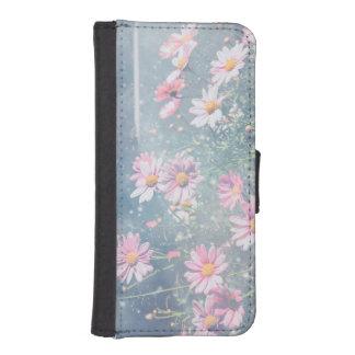 Margaritas rosadas mágicas azules, fotografía de fundas cartera para teléfono