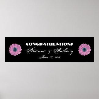 Margaritas rosadas que se casan o bandera del comp posters