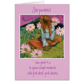 Margaritas rosadas tarjeta pequeña