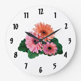 Margaritas rosadas y anaranjadas del Gerbera Reloj Redondo Grande