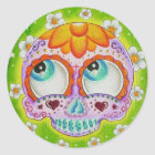 Margaritas sugar skull classic round sticker