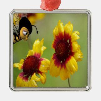 Margaritas y abeja de Shasta Adorno Navideño Cuadrado De Metal