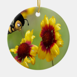 Margaritas y abeja de Shasta Adorno Navideño Redondo De Cerámica