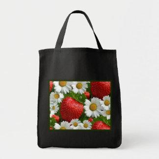 Margaritas y fresas bolsa tela para la compra