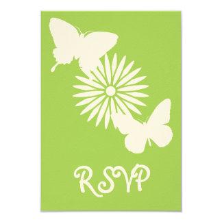 Margaritas y mariposas en la tarjeta de RSVP del Invitación 8,9 X 12,7 Cm
