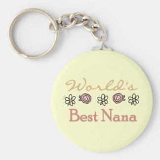 Margaritas y mundos la mejor Nana de los rosas Llavero Redondo Tipo Pin