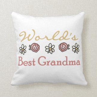 Margaritas y regalos de la abuela del mundo de los cojín decorativo