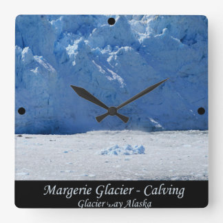 Margerie Glacier Calving/Glacier Bay Alaska Square Wall Clock