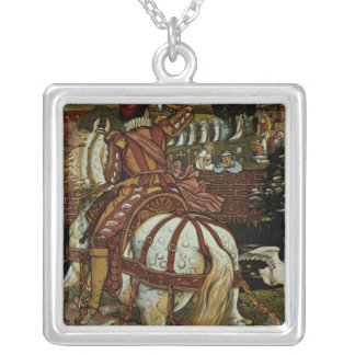 Margery's brother returns from far off lands' silver plated necklace