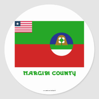 Margibi County Flag with Name Classic Round Sticker