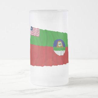 Margibi County Waving Flag Frosted Glass Beer Mug
