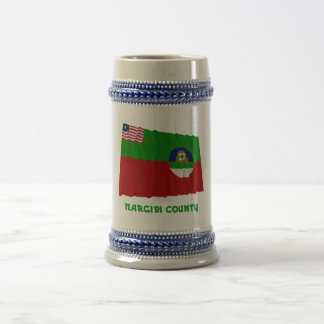 Margibi County Waving Flag with Name Beer Stein