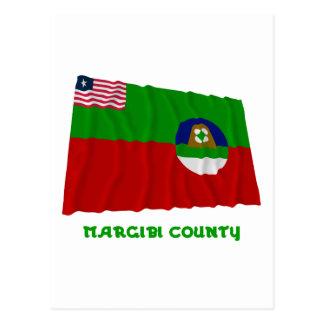 Margibi County Waving Flag with Name Postcard