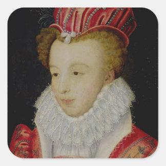 Marguerite de Valois c.1572 Pegatina Cuadradas Personalizadas