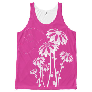 Marguerites blanches sur magenta All-Over print tank top