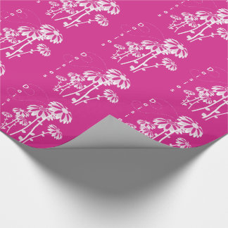 Marguerites blanches sur magenta wrapping paper