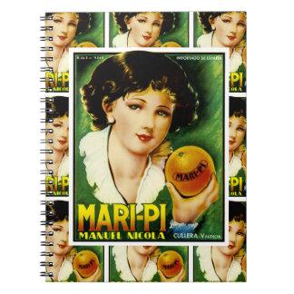Mari Pi Orange Label multi print Spiral Notebook