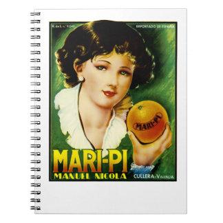 Mari Pi Orange Label Spiral Notebooks