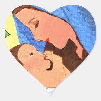 Maria and baby Jesus Heart Sticker
