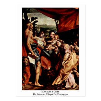 Maria And Child By Antonio Allegri Da Correggio Postcards