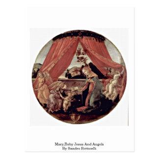 Maria, bebé Jesús y ángeles de Sandro Botticelli Postal