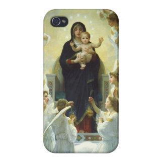 Maria, bebé Jesús, y ángeles iPhone 4 Protectores