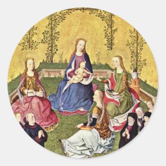 Maria color de rosa en La Haya con los santos y Pegatina Redonda
