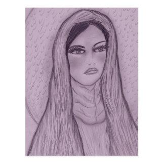 Maria compasiva en púrpura postales