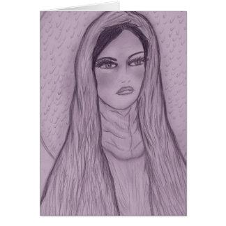 Maria compasiva en púrpura tarjeta de felicitación