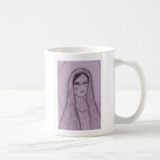 Maria compasiva en púrpura taza