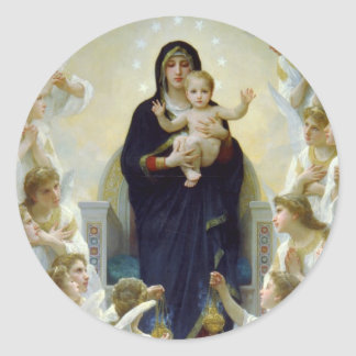 Maria con ángeles - Regina Angelorum Pegatina Redonda