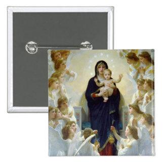 Maria con ángeles - Regina Angelorum Pin Cuadrado