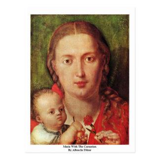 Maria con el clavel de Albrecht Dürer Tarjetas Postales