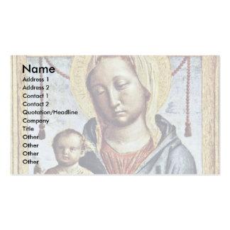 Maria con el muchacho de la bendición del libro y  tarjetas de negocios