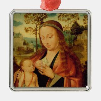 Maria con el niño de Cristo, comienzo del siglo Adorno Navideño Cuadrado De Metal