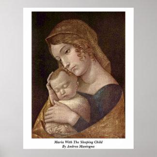 Maria con el niño durmiente de Andrea Mantegna Póster