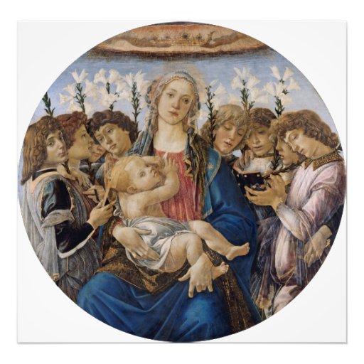 Maria con el niño y ángeles del canto por cojinete