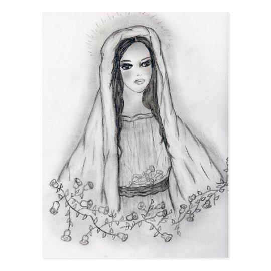Maria con los rosas tarjetas postales