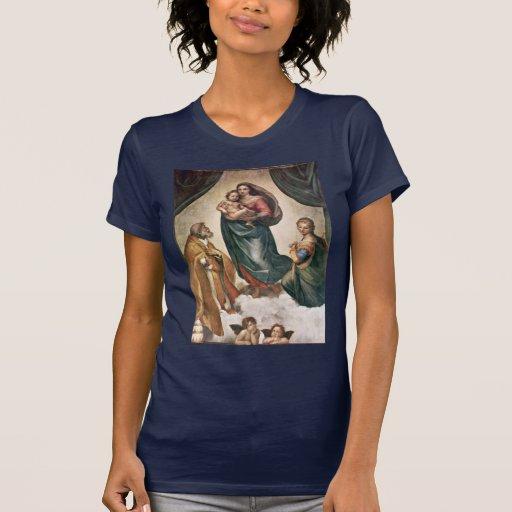 Maria con papa Sixtus del St. del niño de Cristo Playera