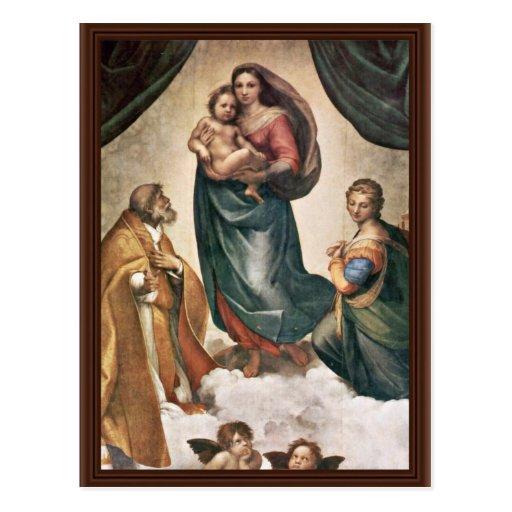 Maria con papa Sixtus del St. del niño de Cristo Postal