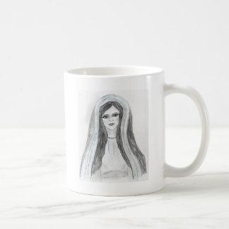Maria con túnica taza de café