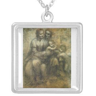 Maria, Cristo, St Anne, y St. John por da Vinci Colgante Cuadrado