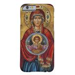Maria del siglo XV icónica con el niño de Cristo Funda De iPhone 6 Barely There